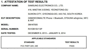 Samsung SM-N7505 (Galaxy Note 3 Neo LTE) hits the FCC