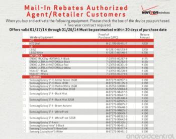 Leaked Verizon form lists rebates that start today