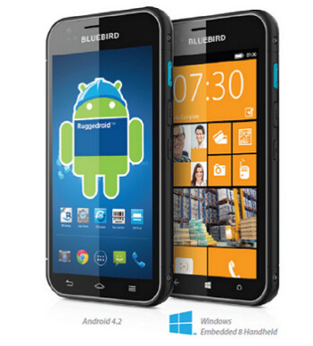 The Bluebird BM180 can be ordered with Android 4.2.2 or Windows Phone 8 powering the device