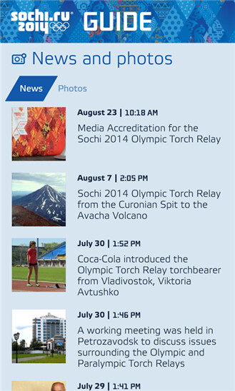 Sochi 2014 Guide on Windows Phone