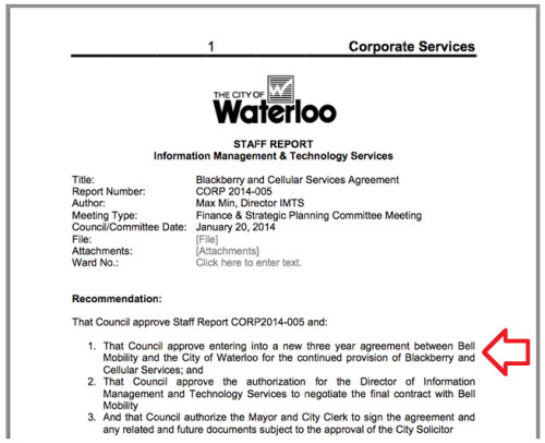 City of Waterloo continues to use BlackBerry handset