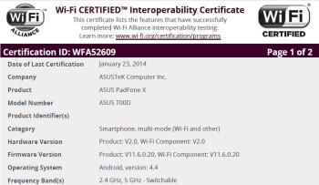 AT&T Asus PadFone X receives its Wi-Fi certification