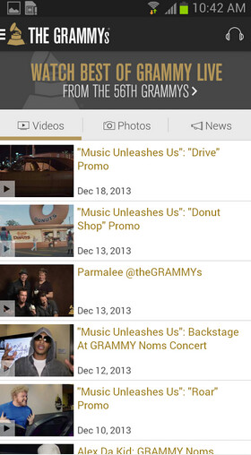 Screenshots from the Android version of the Grammys app