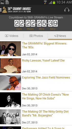 Screenshots from the Android version of the Grammys app - App from CBS brings tonight's Grammy Awards to your iOS or Android phone