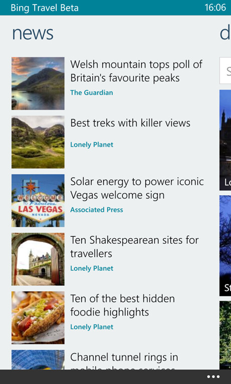 Bing Travel for Windows Phone 8 screenshots