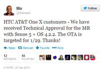 Tweet from HTC executive says Android 4.2.2 is coming soon to the AT&T HTC One X