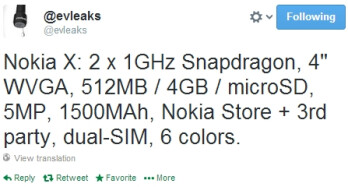 Nokia X (Normandy) to be released in 6 color versions, other specs apparently confirmed