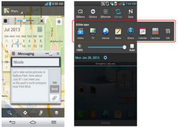 QSlide in action (L) and the notification bar