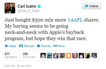 Carl Icahn now owns $4 billion in Apple shares