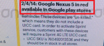 Leaked internal Sprint document reveals February 4th launch of red Nexus 5