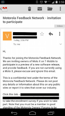 Motorola seeks soak testers for the T-Mobile Motorola Moto X
