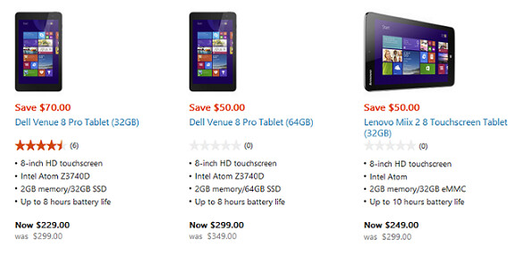The online and physical Microsoft Stores have a sale on some Windows 8.1 powered tablets - Some Windows 8.1 powered tablets cut in price at the online and physical Microsoft Stores