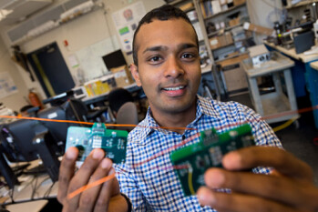 Shyamnath Gollakota and his devices, which do not require batteries to run, instead use power taken out of the air