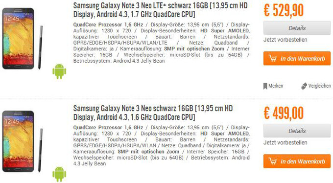 Note 3 Neo gets priced dangerously close to the Note 3 at a German retailer