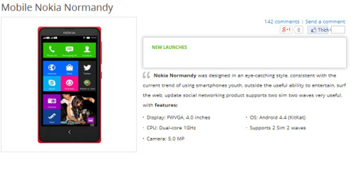 Nokia X/Normandy specs as seen on Vietnamese Gioididong's site
