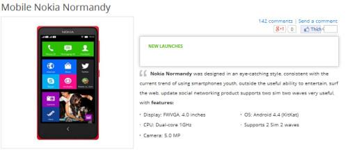 Nokia X/Normandy specs as seen on Vietnamese Gioididong's site