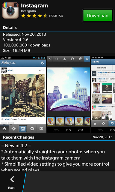 Snap for BB OS 10 screenshots