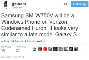 Verizon's Windows Phone-based Samsung SM-W750V reportedly resembles a Galaxy S