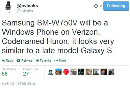 Verizon's Windows Phone-based Samsung SM-W750V reportedly resembles a Galaxy S