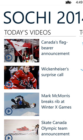 CBC Sochi 2014 screenshots