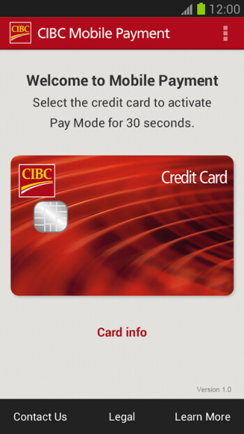 Screenshots of the CIBC mobile payments app