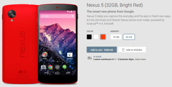 The red Nexus 5 is now available at the Google Play Store