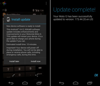 The Verizon branded version of the Motorola Moto G has started receiving Android 4.4.2