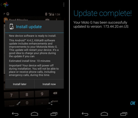 The Verizon branded version of the Motorola Moto G has started receiving Android 4.4.2 - Verizon's Motorola Moto G starts to receive Android 4.4.2