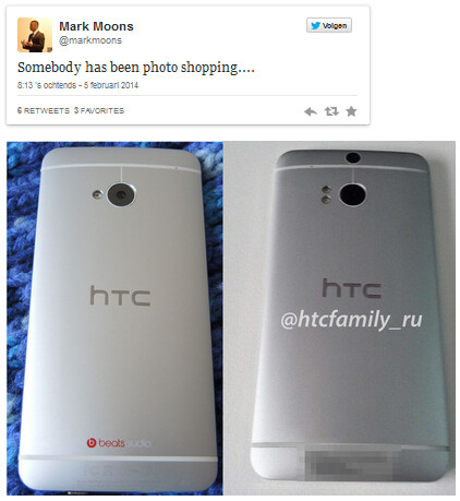 HTC Director Benelux Marc Moons tweets that the image of the M8 at right, is a fake. At left is the HTC One. - HTC director shoots down M8 image as a photoshopped fake
