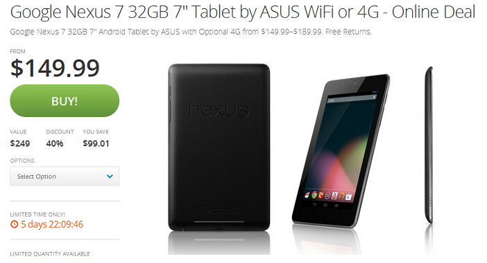 Order the Nexus 7 (2012) from Groupon for $149.99 - Buy the Wi-Fi or HSPA+ Nexus 7 (2012) from Groupon for just $149.99