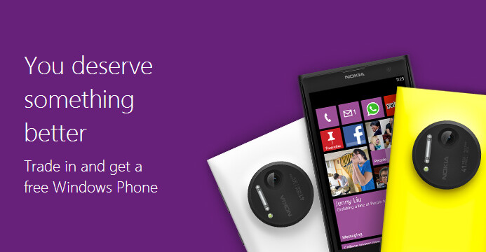 Microsoft wants you to trade-in your used iPhone 4/4s or Galaxy SII for a free Lumia 1020 or 1520