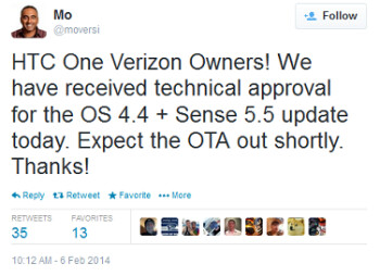 Verizon's HTC One will soon be getting the Android 4.4 update