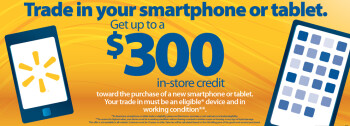 Trade in a working tablet or phone to receive up to $300 credit toward a new device