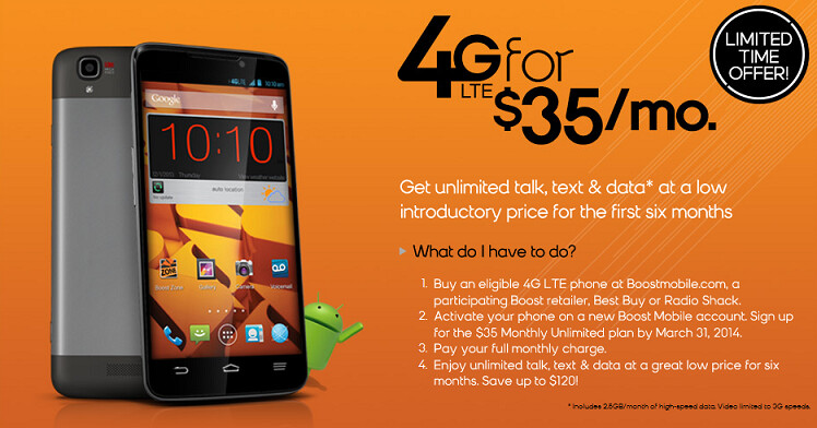 Buy an LTE powered phone from Boost Mobile, and get 6 months of unimited talk, text and data for $35 per month - Buy an LTE phone from Boost Mobile and get 6 months of unlimited talk, text and data for $35 a month