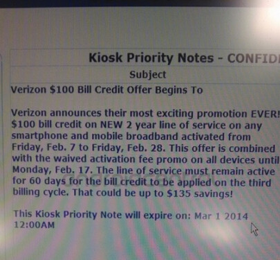 Leaked internal document reveals $100 bill credit for new lines ordered from Verizon before the end of the month - Leaked document shows Verizon offering $100 credit on new lines from today through the end of the month
