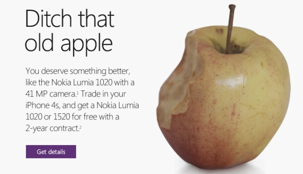 """Microsoft sends """"ditch that old apple"""" notes to potential Lumia customers"""
