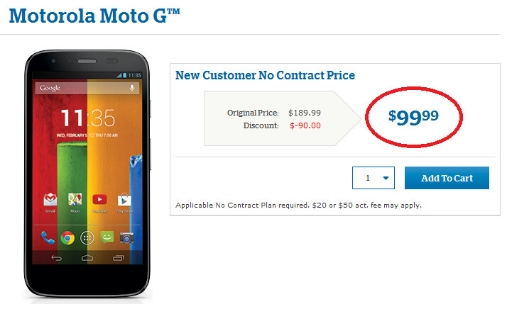 The Motorola Moto G is now available from U.S. Cellular for $99.99 after rebate - Motorola Moto G priced at $99.99 at U.S. Cellular after rebate