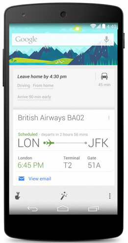 Google Now will remind you when to leave for the airport