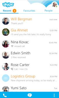 Screenshots from Skype for BlackBerry