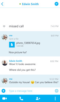 Screenshots from Skype for BlackBerry