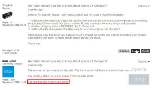Email from Sony says the Xperia Z1 Compact has a rear panel made of glass