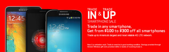 Trade in a used smartphone and receive a $100 to $300 gift card from Verizon