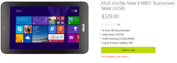 The 32GB Asus VivoTab Note 8 is available from the online Microsoft Store