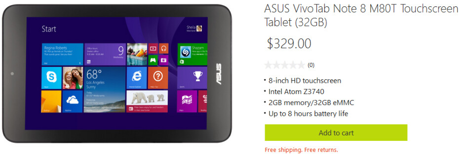The 32GB Asus VivoTab Note 8 is available from the online Microsoft Store - 32GB Asus VivoTab Note 8 priced at $329 from the online Microsoft Store