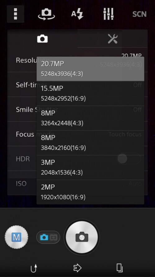 Sony D6503 Sirius shown to have 15.5 MP manual camera mode