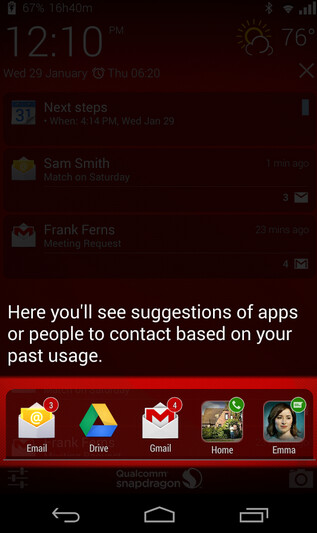 Screenshots from Snapdragon Glance