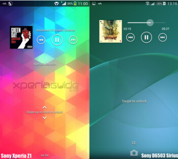 Screenshot of Android 4. powered Sony Xperia Z1 (L) and Android 4.4 powered Sony D6503 Sirius