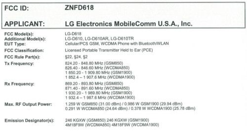 LG D618 at the FCC