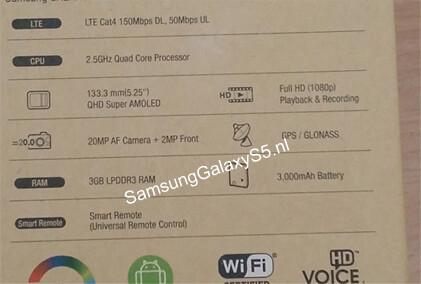 "Alleged Galaxy S5 box snap lists 5.25"" Quad HD screen, 20 MP camera and 3000 mAh battery"