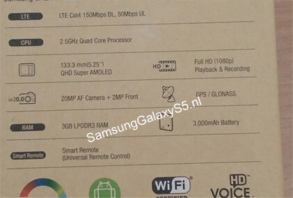 Alleged Galaxy S5 box contents